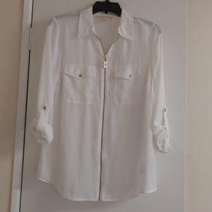 Michael Kors Sheer White Zip Up Cuff Sleeve Shirt